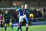 Calvin Andrew returned from suspension during the EFL Sky Bet League 1 match between Rochdale and Scunthorpe United at Spotland, Rochdale, England on 10 December 2016. Photo by Daniel Youngs.