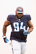 NASHVILLE, TN - NOVEMBER 29:  Sammie Hill #94 of the Tennessee Titans runs onto the field before a game against the Oakland Raiders at Nissan Stadium on November 29, 2015 in Nashville, Tennessee.  The Raiders defeated the Titans 24-21.  (Photo by Wesley Hitt/Getty Images) *** Local Caption *** Sammie Hill