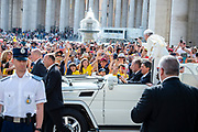 Pope Francis arrives for his weekly general audience in St. Peter's Square, Vatican City, Vatican, 30 May 2018.