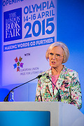Mary Berry opens the London Book Fair, Olympia, London, UK, 14 Apr 2015.