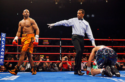 Nov 8, 2008; New York, NY, USA; Roy Jones Jr. knocks down Joe Calzaghe in the first round of their 12 round Light Heavyweight Championship fight at Madison Square Garden in New York, NY.  Calzaghe defeated Jones via unanimous decision.