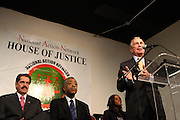 17 January 2011- Harlem, NY-  l to r: U.S.Congressman Jose M. Serrano, Rev. Dr. Al Sharpton, Tamika Mallory, National Executive Director, National Action Network and Mayor Michael Bloomberg at The National Action Network Martin Luther King Day Celebration held at The House of Justice on January 17, 2011 in Harlem, New York City. Photo Credit: Terrence Jennings
