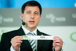 Ales Zavrl of NZS with paper NK Krka during NZS Draw for season 2015/16 on June 23, 2015 in Brdo pri Kranju, Slovenia. Photo by Vid Ponikvar / Sportida