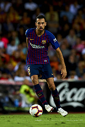 October 8, 2018 - Valencia, Valencia, Spain - Sergio Busquets controls the ball during the week 8 of La Liga match between Valencia CF and FC Barcelona at Mestalla Stadium in Valencia, Spain on October 7, 2018. (Credit Image: © Jose Breton/NurPhoto/ZUMA Press)