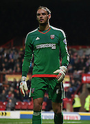 David Button in action during the Sky Bet Championship match between Brentford and Hull City at Griffin Park, London, England on 3 November 2015. Photo by Michael Hulf.