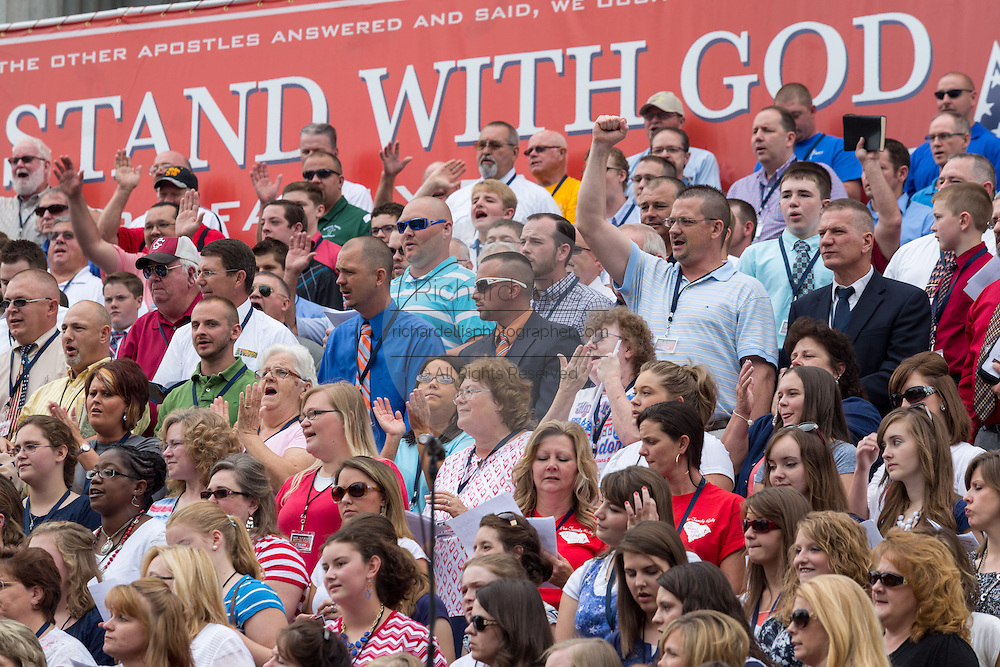 "Evangelical Christians gather for the ""Stand With God"" rally  August 29, 2015 in Columbia, SC. Thousands of conservative christians gathered at the State House to rally against gay marriage and listen to GOP presidential candidates Gov. Rick Perry and Sen. Ted Cruz speak."
