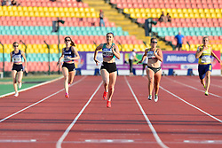 From left to right Alice Metias, FRA, Lucile Razet, Orla Cromerford, IRE, Janne Sophie Engeleiter, GER, Nathatlie Neilson, SWE competing in the T13, 100m at the Berlin 2018 World Para Athletics European Championships