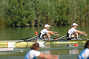 Lucerne, SWITZERLAND,  A Finals, GBR W2X Anna Bebington and left, Elise Laverick, at the 2007 FISA World Cup, Lucerne, on the Rotsee Lake, 15/07/2007  [Mandatory Credit Peter Spurrier/ Intersport Images] , Rowing Course, Lake Rottsee, Lucerne, SWITZERLAND.