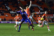 Oldham Athletic Midfielder, Timothe Dieng battles during the Sky Bet League 1 match between Blackpool and Oldham Athletic at Bloomfield Road, Blackpool, England on 16 February 2016. Photo by Pete Burns.