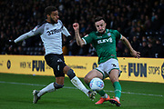 Sheffield Wednesday defender Morgan Fox (3) crosses the ball during the EFL Sky Bet Championship match between Derby County and Sheffield Wednesday at the Pride Park, Derby, England on 11 December 2019.