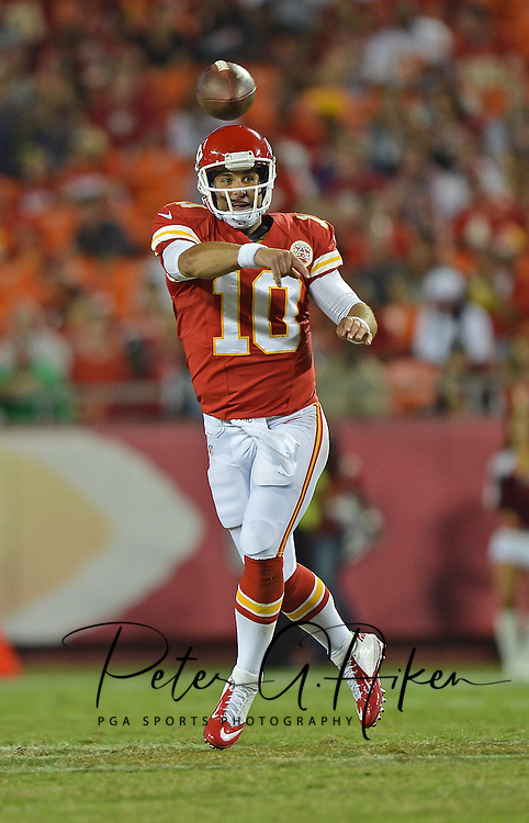 KANSAS CITY, MO - AUGUST 16:  Quarterback Chase Daniel #10 of the Kansas City Chiefs throws a pass down field against the San Francisco 49ers during the second half on August 16, 2013 at Arrowhead Stadium in Kansas City, Missouri.  The 49ers won 15-13. (Photo by Peter Aiken/Getty Images) *** Local Caption *** Chase Daniel