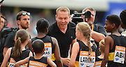 Sir Chris Hoy meets young athletes during the Sainsbury's Anniversary Games at the Queen Elizabeth II Olympic Park, London, United Kingdom on 25 July 2015. Photo by Mark Davies.