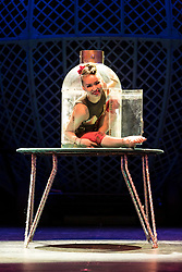 Celebrating the 250th anniversary of the circus, the contemporary circus Cirque Berserk starts its 2018 UK tour in Edinburgh. The international troupe includes over thirty jugglers, acrobats, aerialists, dancers, drummers and daredevil stuntmen.<br /> <br /> Pictured: Odka, a contortionist from Mongolia
