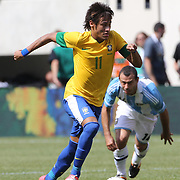Neymar, Brazil, in action during the Brazil V Argentina International Football Friendly match at MetLife Stadium, East Rutherford, New Jersey, USA. 9th June 2012. Photo Tim Clayton