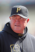 LOS ANGELES, CA - APRIL 10:  Manager Clint Hurdle #13 of the Pittsburgh Pirates looks on during the game against the Los Angeles Dodgers on Tuesday, April 10, 2012 at Dodger Stadium in Los Angeles, California. The Dodgers won the game 2-1. (Photo by Paul Spinelli/MLB Photos via Getty Images) *** Local Caption *** Clint Hurdle