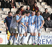 Paul McGinn is congratulated by his teammates after scoring the winner  - Motherwell v Dundee, SPFL Premiership at Fir Park<br /> <br />  - &copy; David Young - www.davidyoungphoto.co.uk - email: davidyoungphoto@gmail.com