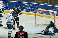 KELOWNA, CANADA - OCTOBER 10:  Liam Hughes #30 of the Seattle Thunderbirds misses a first period save on a shot by Nolan Foote #29 and an assist by Liam Kindree #26 of the Kelowna Rockets on October 10, 2018 at Prospera Place in Kelowna, British Columbia, Canada.  (Photo by Marissa Baecker/Shoot the Breeze)  *** Local Caption ***