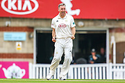 Wicket! Rikki Clarke of Surrey celebrates his first wicket of the day Craig Miles of Warwickshire during the Specsavers County Champ Div 1 match between Surrey County Cricket Club and Warwickshire County Cricket Club at the Kia Oval, Kennington, United Kingdom on 26 June 2019.
