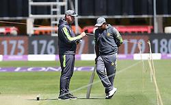 Pakistan head coach Mickey Arthur with captain Sarfaraz Ahmed during the nets session at the Bristol County Ground.