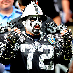 A Raiders fan in the first half during a NFL game at Qualcomm Stadium on Sunday, December 5, 2010, in San Diego.  (SGVN/Staff Photo by Keith Birmingham/SPORTS)