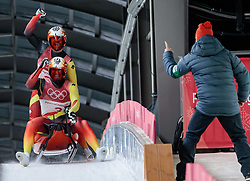 14.02.2018, Olympic Sliding Centre, Pyeongchang, KOR, PyeongChang 2018, Rodeln, Zweisitzer, Herren, im Bild Tobias Wendl und Tobias Arlt (GER, 1. Platz), Bundestrainer Norbert Loch // gold medalist and Olympic champion Tobias Wendl and Tobias Arlt of Germany Head Coach Norbert Loch during the mens doubles luge of the Pyeongchang 2018 Winter Olympic Games at the Olympic Sliding Centre in Pyeongchang, South Korea on 2018/02/14. EXPA Pictures © 2018, PhotoCredit: EXPA/ Johann Groder