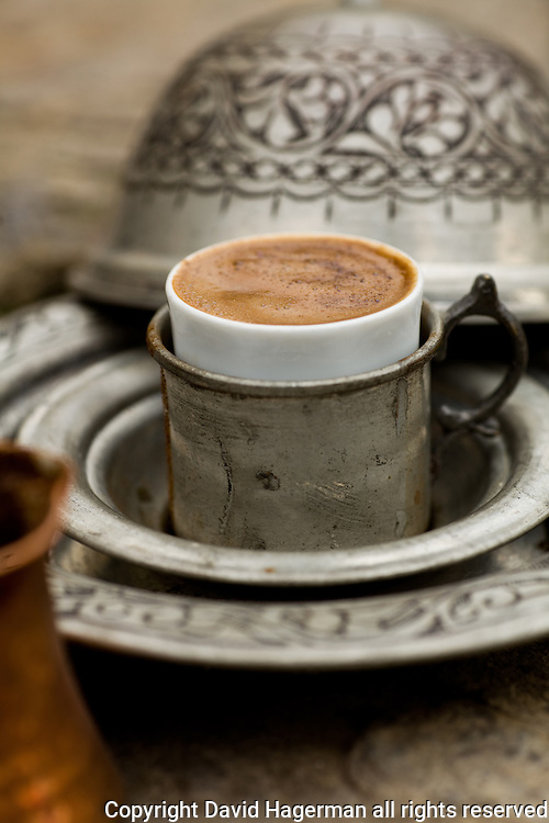 Traditonal Turkish coffee served at Kiva, Istanbul, Turkey