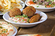 A plate falafel balls (deep fried ground chickpea) and Tahini