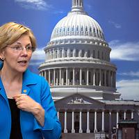 U.S. Senator Elizabeth Warren, Democrat from Massachusetts, in her Washington, DC office in front of a photograph of the U.S. Capitol on April 15, 2015.
