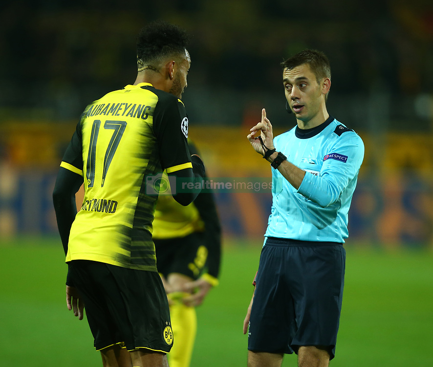 November 21, 2017 - Dortmund, Germany - Referee Clement Turpin of France having  words with  ierre-Emerick Aubameyang of Borussia  Dortmund  during UEFA Champion  League Group H Borussia Dortmund between Tottenham Hotspur played at Westfalenstadion, Dortmund, Germany 21 Nov 2017  (Credit Image: © Kieran Galvin/NurPhoto via ZUMA Press)