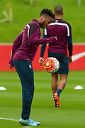 England midfielder Raheem Sterling warms up with the ball during the England Training Session at St George's Park National Football Centre, Burton-Upon-Trent, United Kingdom on 7 October 2015. Photo by Aaron Lupton.