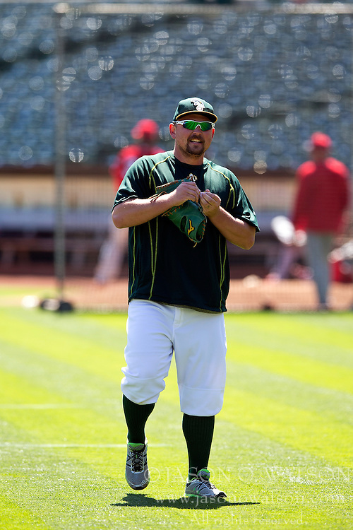 OAKLAND, CA - JUNE 21:  Billy Butler #16 of the Oakland Athletics stands on the field during batting practice before the game against the Los Angeles Angels of Anaheim at O.co Coliseum on June 21, 2015 in Oakland, California. The Oakland Athletics defeated the Los Angeles Angels of Anaheim 3-2. (Photo by Jason O. Watson/Getty Images) *** Local Caption *** Billy Butler