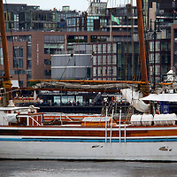 Europe, Norway, Oslo. Boat in Oslo harbor, Norway.