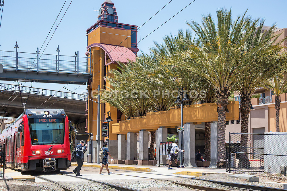 Red Trolley at Grossmont Trolley Station San Diego
