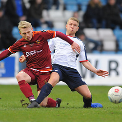 TELFORD COPYRIGHT MIKE SHERIDAN 5/1/2019 - Darryl Knights of AFC Telford battles for the ball with Jamie Chandler during the Vanarama Conference North fixture between AFC Telford United and Spennymoor Town.