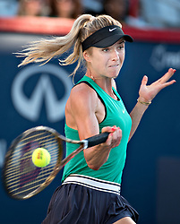 MONTREAL, Aug. 12, 2018  Elina Svitolina of Ukraine returns the ball to Sloane Stevens of the United States during the semifinal match of women's singles at the 2018 Rogers Cup in Montreal, Aug. 11, 2018. Elina Svitolina lost 0-2. (Credit Image: © Andrew Soong/Xinhua via ZUMA Wire)