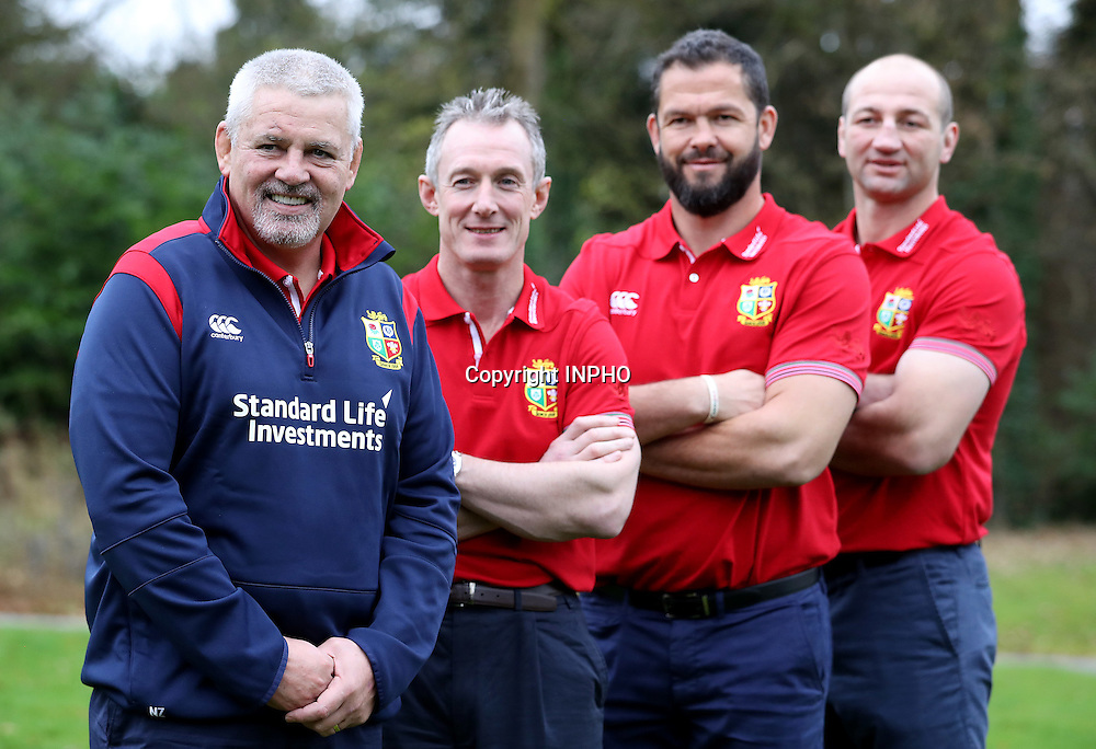 British &amp; Irish Lions Coaching Team Announcement for 2017 Tour to New Zealand, Carton House, Co. Kildare 6/12/2016<br /> WARREN GATLAND today announced the coaching team for the British &amp; Irish Lions 2017 Tour to New Zealand.<br /> Steve Borthwick (England), Andy Farrell (Ireland) and Rob Howley (Wales) will assist Gatland for the 10-game Tour next June and July.<br /> The trio will work with their respective countries for the RBS 6 Nations before joining the Lions ahead of the Squad Announcement on April 19, 2017. The Lions Management Team will be announced in early January.<br /> Pictured (L-R) Head coach Warren Gatland with coaches Rob Howley, Andy Farrell and Steve Borthwick<br /> Mandatory Credit &copy;INPHO/Dan Sheridan
