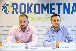 "Uros Zorman and Luka Zvizej during press conference of handball event named ""Rokometna simfonija"" in honour of retirement of best Slovenian handball players Uros Zorman and Luka Zvizej, on April 14, 2019, in Arena Zlatorog, Celje, Slovenia. Photo by Vid Ponikvar / Sportida"