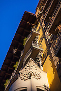 Close up of apartment building, Eixample, Barcelona, Catalonia, Spain