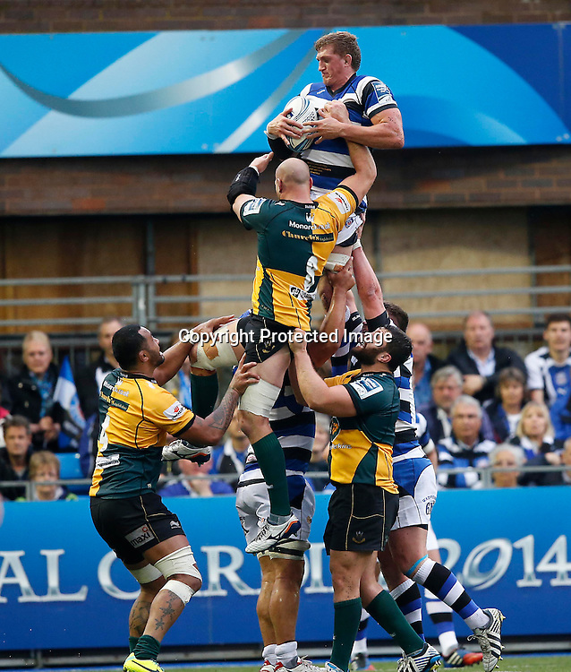 Amlin Challenge Cup Final, Cardiff Arms Park, Cardiff 23/5/2014<br /> Bath vs Northampton Saints<br /> Bath&rsquo;s Stuart Hooper wins a line-out<br /> Mandatory Credit &copy;INPHO/Billy Stickland