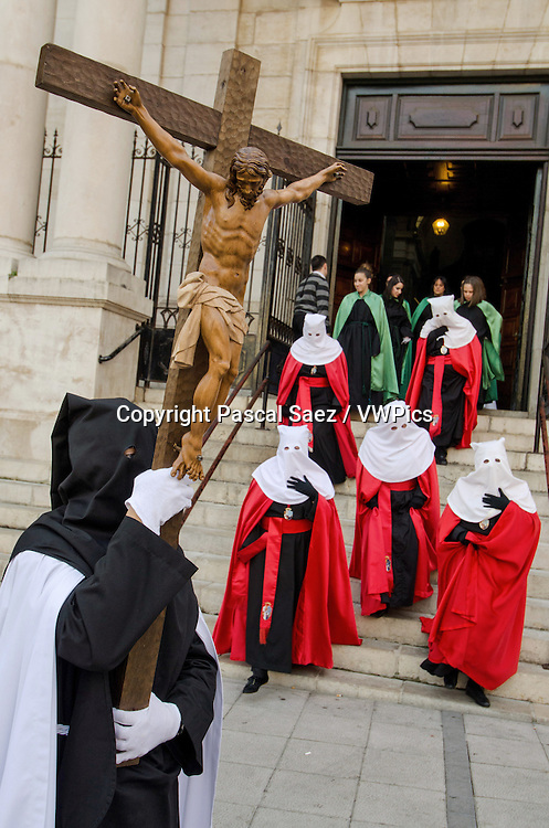 Saturday 23 March 2013 - Santander, Spain - The first procession of Holy Week 2013 makes its way across the city centre.<br />