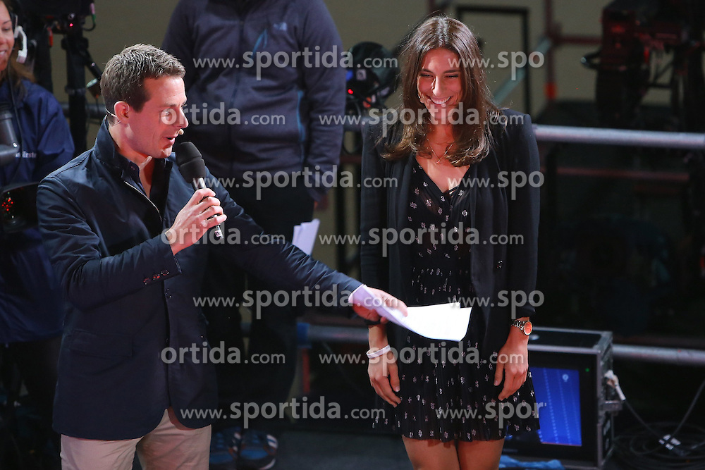 10.06.2015, Stadion an der Kreuzeiche, Reutlingen, GER, DFB Pokal, Auslosung, im Bild Tennis Profi Andrea Petkovic rechts wird von Moderator Alexander Bommes links begruesst // during draw for the matches for the German DFB Cup in season 2015/16 at the Stadion an der Kreuzeiche in Reutlingen, Germany on 2015/06/10. EXPA Pictures &copy; 2015, PhotoCredit: EXPA/ Eibner-Pressefoto/ Fudisch<br /> <br /> *****ATTENTION - OUT of GER*****