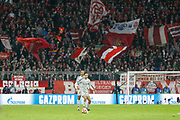 Liverpool defender Trent Alexander-Arnold (66) on the ball with the Bayern Munich fans as a backdrop during the Champions League match between Bayern Munich and Liverpool at the Allianz Arena, Munich, Germany, on 13 March 2019.