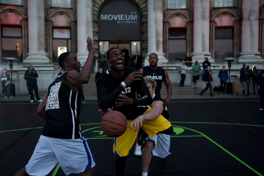 Basketball players play in a 3 on 3 tournament on the roof of County Hall, on Southbank, as part of the Nike #makeitcount event, with the support of London School of Basketball. (Bogdan Maran/Frank-Adam for Nike)