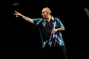 Phil Taylor during the Premier League Darts  at the Motorpoint Arena, Cardiff, Wales on 31 March 2016. Photo by Shane Healey.