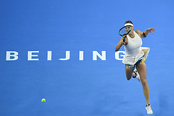 BEIJING , Oct. 2, 2018  Aryna Sabalenka of Belarus hits a return during the women's singles second round match against Garbine Muguruza of Spain at China Open tennis tournament in Beijing, China, Oct. 2, 2018. Aryna Sabalenka won 2-0. (Credit Image: © Ju Huanzong/Xinhua via ZUMA Wire)