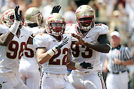 FSU Defensive Players celebrate a for sure safety only to be overruled by the referee with a ruling that the runner was down on the 1 yard line.  USF defeated No. 18 FSU 17-7, Saturday, 26 Sep 09, at Doak Campbell Stadium in front of 12,000 fans. First meeting between the schools and was viewed by FSU's biggest home crowd in four years.