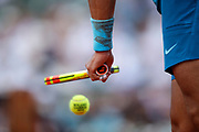 Rafael NADAL (ESP) hands and racket during the Roland Garros French Tennis Open 2018, single Final Men, on June 10, 2018, at the Roland Garros Stadium in Paris, France - Photo Stephane Allaman / ProSportsImages / DPPI