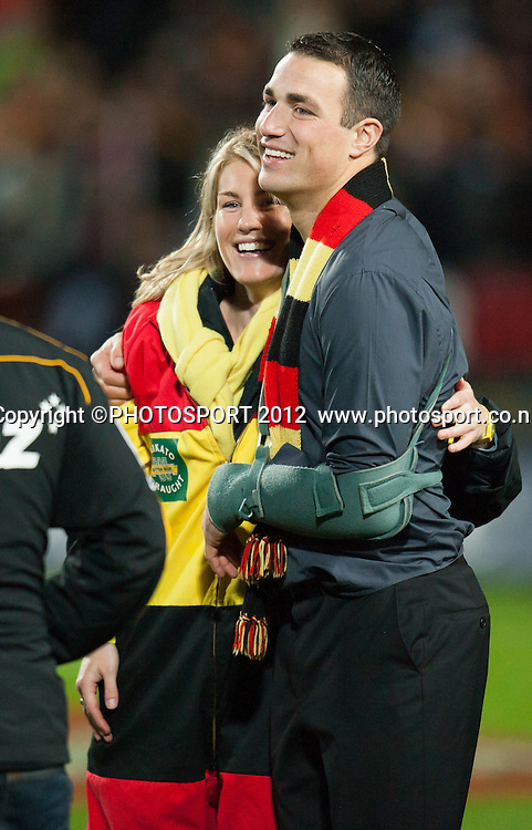 Chiefs injured player Richard Kahui and his girlfriend Amy Rhodes after the Investec Super Rugby final between Chiefs and Sharks won by Chiefs 37-6 at Waikato Stadium, Hamilton, New Zealand, Saturday 4 August 2012. Photo: Stephen Barker/Photosport.co.nz