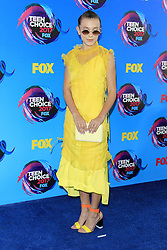 August 13, 2017 - Los Angeles, CA, USA - LOS ANGELES - AUG 13:  Millie Bobby Brown at the Teen Choice Awards 2017 at the Galen Center on August 13, 2017 in Los Angeles, CA (Credit Image: © Kay Blake via ZUMA Wire)