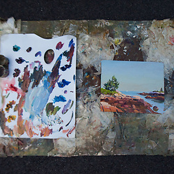 Josh Adam Palette and Painting, Schoodic Point, Acadia National Park, Mt. Desert Island, Maine, US